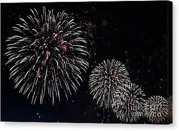 Canvas Print featuring the photograph Pink Fireworks by Lilliana Mendez