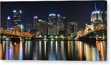 Upmc Canvas Print - Pittsburgh Panorama by Frozen in Time Fine Art Photography