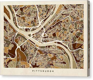 Pittsburgh Canvas Print - Pittsburgh Pennsylvania Street Map by Michael Tompsett