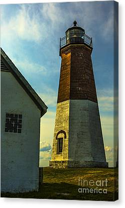 Point Judith Lighthouse Canvas Print by Diane Diederich