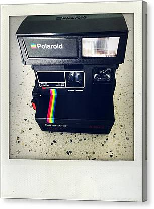 Polaroid Camera.  Canvas Print by Les Cunliffe