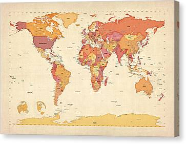 Political Map Of The World Map Canvas Print by Michael Tompsett
