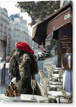 Poodle In Paris Canvas Print