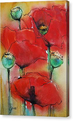 Canvas Print featuring the painting Poppies I by Jani Freimann