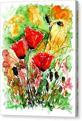 Poppy Lawn Canvas Print by Zaira Dzhaubaeva