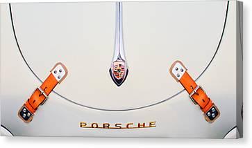 Porsche 1600 Hood Emblem Canvas Print by Jill Reger
