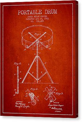 Drummer Canvas Print - Portable Drum Patent Drawing From 1903 - Red by Aged Pixel