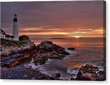 Portland Head Lighthouse Sunrise Canvas Print by Alana Ranney