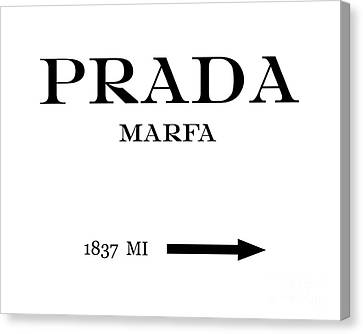 Prada Marfa Mileage Distance Canvas Print by Edit Voros