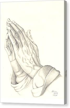 Canvas Print featuring the drawing Praying Hands by Patricia Hiltz