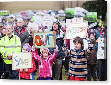 Protest Against Public Forest Selloff Canvas Print by Ashley Cooper