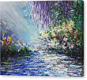 Purple Tree By The Lake Canvas Print by Kume Bryant