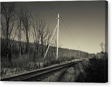 Railroad Track Passing Canvas Print by Panoramic Images