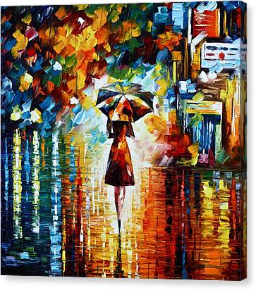 Street Canvas Print - Rain Princess - Palette Knife Landscape Oil Painting On Canvas By Leonid Afremov by Leonid Afremov
