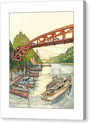 Rainbow Bridge La Connor W A Canvas Print by Jack Pumphrey