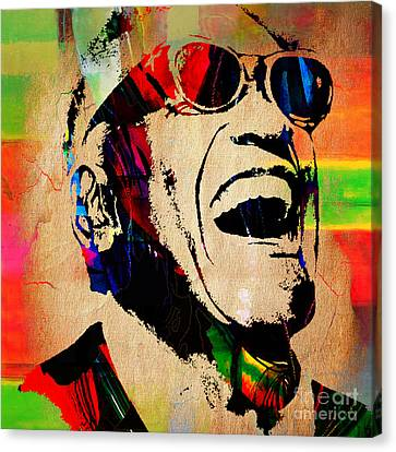 Pop Canvas Print - Ray Charles Collection by Marvin Blaine
