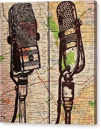 2 Rca Microphones Canvas Print by William Cauthern
