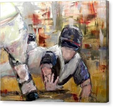 Baseball Canvas Print - Reaching For Home by Lisa Moore