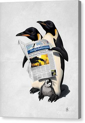 Penguin Canvas Print - Read All Over Wordless by Rob Snow