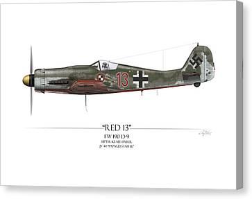 Red 13 Focke-wulf Fw 190d - White Background Canvas Print