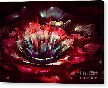 Red Fractal Flower Canvas Print by Martin Capek