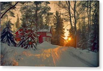 Red House In The Winter Canvas Print by Bruce Nutting