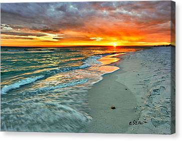 Red Orange Beach Sunset Canvas Print by Eszra Tanner