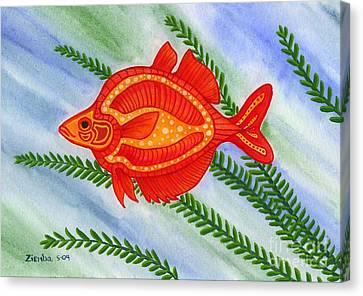 Red Rainbow Fish Canvas Print by Lori Ziemba