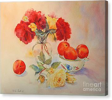 Canvas Print featuring the painting Red Roses Jazz by Beatrice Cloake