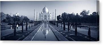 Reflection Of A Mausoleum On Water, Taj Canvas Print