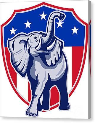 Republican Elephant Mascot Usa Flag Canvas Print by Aloysius Patrimonio