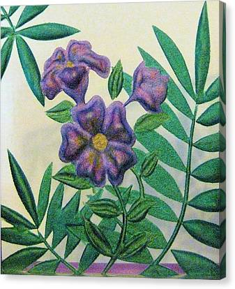 Reverse Painted Carved Florals On Glass Canvas Print by Judy Via-Wolff