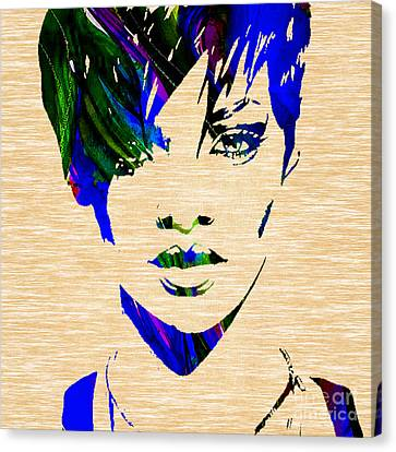 Rihanna Canvas Print - Rihanna Collection by Marvin Blaine