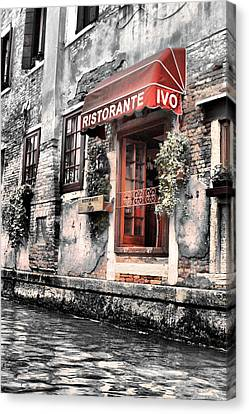 Ristorante On The Canal Canvas Print by Greg Sharpe