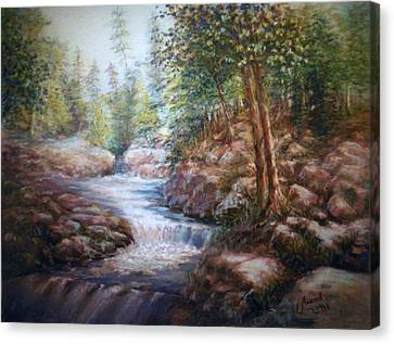 Canvas Print featuring the painting River Falls by Laila Awad Jamaleldin