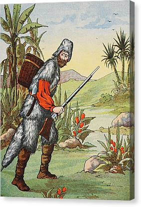 Robinson Crusoe Canvas Print by English School