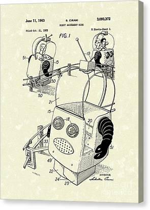 Robot Ride 1963 Patent Art Canvas Print by Prior Art Design