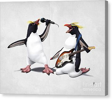 Penguin Canvas Print - Rock Wordless by Rob Snow