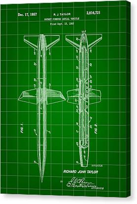 Jet-propelled Canvas Print - Rocket Patent 1953 - Green by Stephen Younts