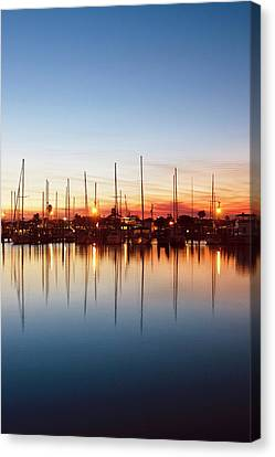 Rockport, Texas Harbor At Sunset Canvas Print by Larry Ditto