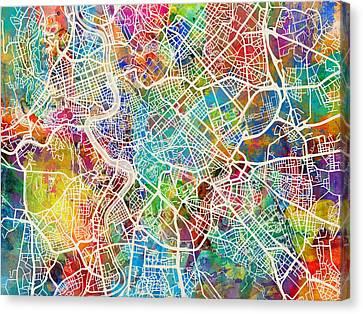 Roma Canvas Print - Rome Italy Street Map by Michael Tompsett