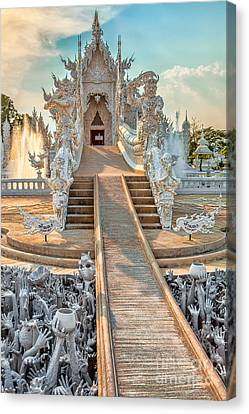 Reflecting Water Canvas Print - Rong Khun Temple by Adrian Evans