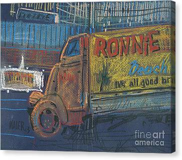 Canvas Print featuring the painting Ronnie John's by Donald Maier
