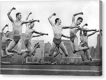 Shawn Canvas Print - Rooftop Dancers In New York by Underwood Archives