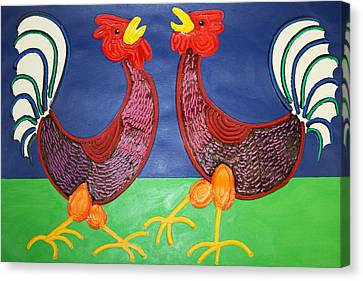 2 Roosters Canvas Print by Matthew Brzostoski