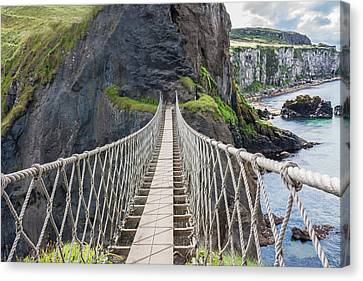 Rope Bridge At Carrick-a-rede In Northern Island Canvas Print by Semmick Photo