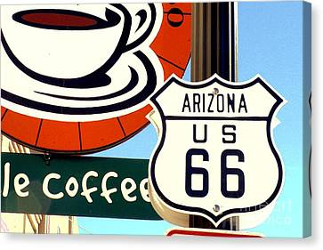 Canvas Print featuring the digital art Route 66 Coffee by Valerie Reeves