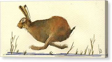 Running Hare Canvas Print by Juan  Bosco