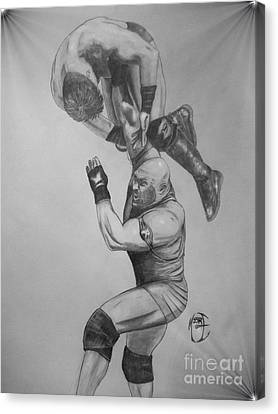 Canvas Print featuring the drawing Ryback by Justin Moore