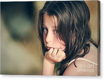Sad Child Canvas Print by Justin Paget